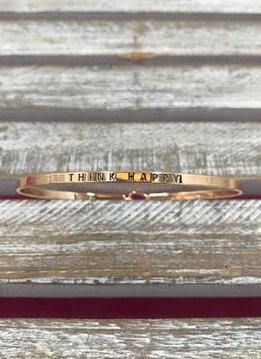 "Rose Gold Bangle ""Think Happy"""