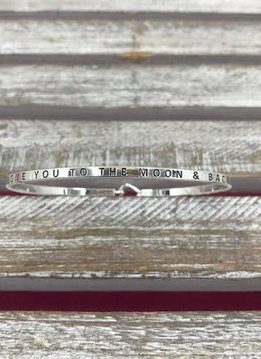 """Silver Bangle """"Love You To The Moon And Back"""""""