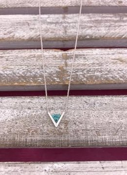 Silver Necklace with Triangle Turquoise Pendant
