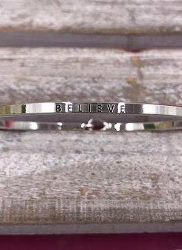 "Silver ""Believe"" Bangle"