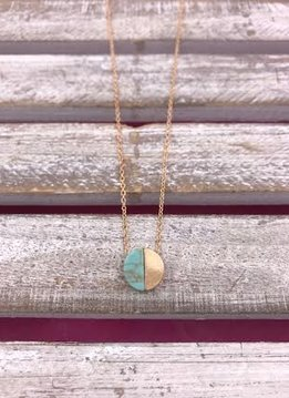 Gold Necklace with Circle Half Turquoise Half Gold Pendant