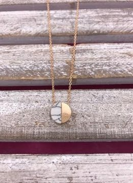 Gold Necklace with Circle Half Marble Half Gold Pendant