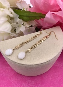 Gold Long Earrings with a White Stone At End
