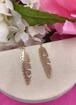 Gold Metal Feather Earrings