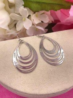 Silver Multiple Oval Loop Earrings
