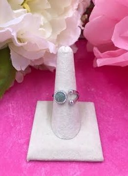 Italian Sterling Silver Green Quartz Adjustable Ring