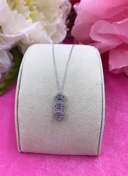 Italian Sterling Silver Cubic Zirconia Three Square Pendant