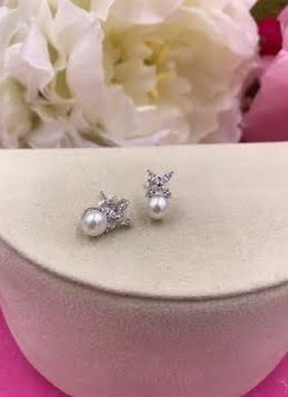 Italian Sterling Silver Cubic Zirconia Flower Earrings with Pearl