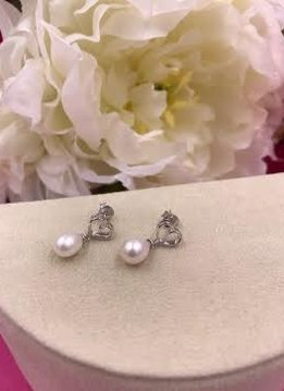 Italian Sterling Silver Heart Earrings with Pearls