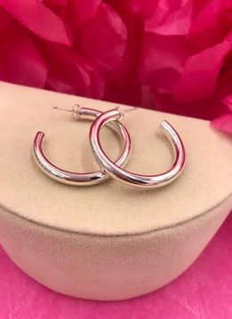Sterling Silver Chunky Hoop Earrings