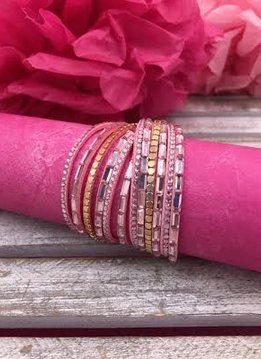 Pink Wrap Bracelet with Pink Rhinestones and Gold Accents