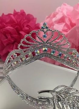 Silver Tiara with Clear and AB Rhinestones