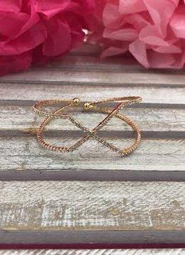 Gold with Silver Rhinestone Criss Cross Cuff Bracelet