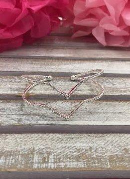 Silver with Silver Rhinestone Double Chevron Rhinestone Cuff Bracelet