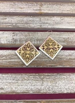 Silver and Gold Diamond Shaped Filigree Earrings
