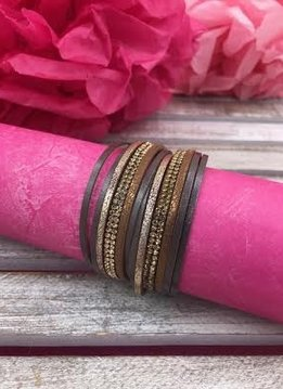 Gold and Brown Magnetic Multi-Layered Bracelet