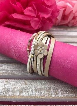 Beige Multi-Strand Wrap Bracelet with A Petite Flower