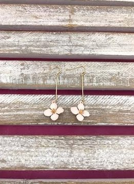 Gold and Pink Long Dangling Flower Earrings