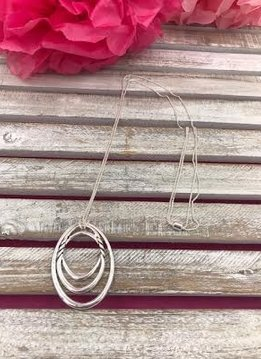 Silver Adjustable Necklace with a Round Pendant