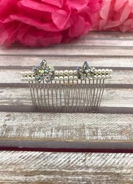 Silver Pearl and Iridescent Flower Rhinestone Hair Comb