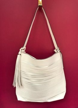 Tassel Accent Unique Layered Strip Boho Faux Leather Purse in White