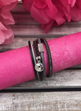 Black and Silver Snap Mini Layered Wrap Bracelet
