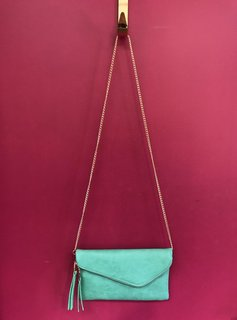 Solid Flap Over Envelope Clutch with Strap in Green