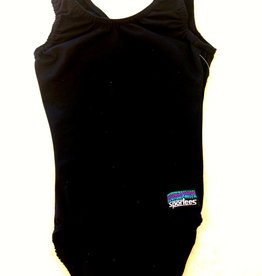 Sportees Sportees Athletic Fit Tank Style or T-back Style Gymnastic Bodysuit-All Black- Size 5