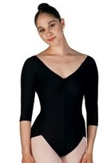 Capezio Capezio (7301-S) 3/4 Length Sleeves  Leo/Bodysuit-BLACK AND RED AVAILABLE