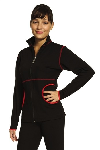Mondor Front zipper jacket Long sleeve Mock neck Side pockets Topstitching and bias in contrasting color