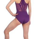 Bloch This stunning new leotard from Bloch has a gorgeous floral lace and ribbon detailed racer back design. The camisole straps and plain front, with the panel details are very flattering. Made from high performance material it is great for class or stage! <br /> <br /> •