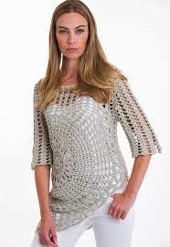 """Pure Handknit Make your inner hippie happy this summer with this artisan pullover. (S) HPS Length to lowest point: 30"""", (S) HPS Length to highest point: 20"""". Crochet."""