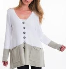 """Pure Handknit A signature Pure body with inspired color blocking. Always with white 09 (S/M) HPS length: 26"""". Single knit."""