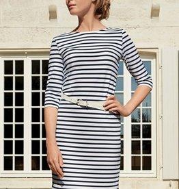 Saint James Striped dress, round neckline. 3/4 sleeve. Length: 91cm.<br /> <br /> <br /> Fabric : 91% Polyamid Meryl, 9% Elastane, fiber jersey.