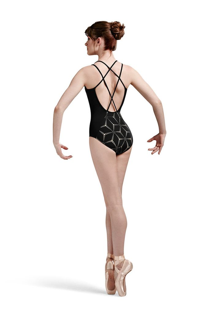 Bloch Bloch/Mirella MJ7172 Black/Nude Laser Cutout Back Strap Leotard.  A stunning new leotard for class or stage. Origami laser cutout twin back cross back strap camisole leotard.<br /> <br /> Micro Spandex