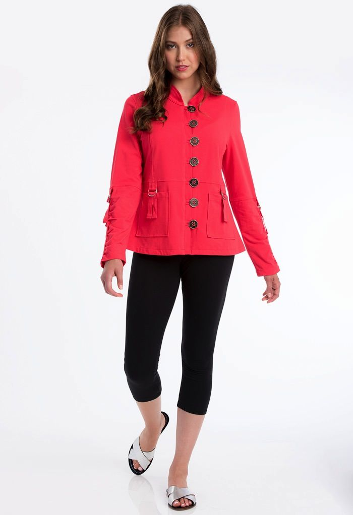 Neon Buddha A bold modern jacket. Features cotton taping with rouching on sleeve and pockets. (S) HPS length: 24.5""