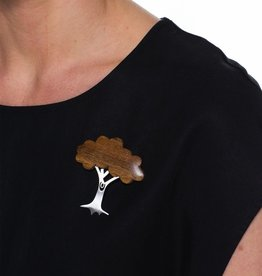 ELK Elk Wood and Metal Tree Brooch