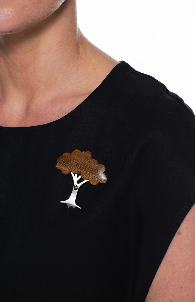 ELK Elk Wood and Metal Tree Brooch