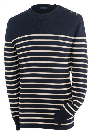 Saint James Striped sweater. Round neck. 1x1 rib<br /> Collar rib trimming. Buttoned on one shoulder. Straight base.<br /> 60% Wool, 40% Acrylic