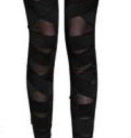 WB Stripe and Mesh Front Leggings