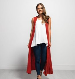 Vigorella Vigorella VCB157 Long Draped Vest With Pockets Bamboo