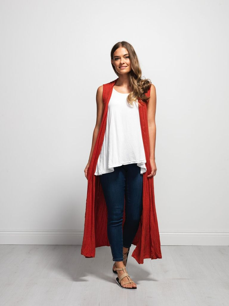 Vigorella Vigorella Long Draped Vest With Pockets Bamboo