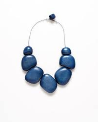 ELK Blue/Grey Cord Dome Short Necklace