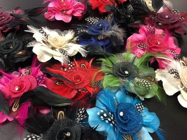 Feather flower hair clips