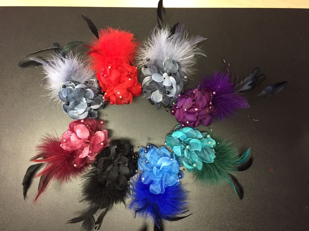 Flower Feather Hair Clips