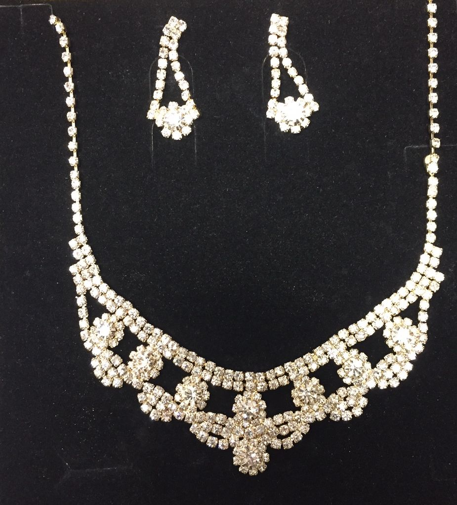Necklace and Earrings Set Gold