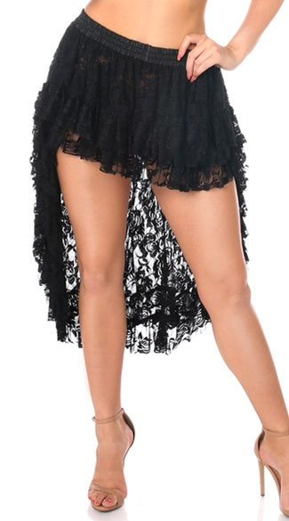 Daisy Corsets Black Lace Skirt, High at the front and low at the back.