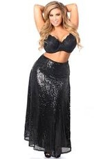 Daisy Corsets Long black sequin skirt with side slit.
