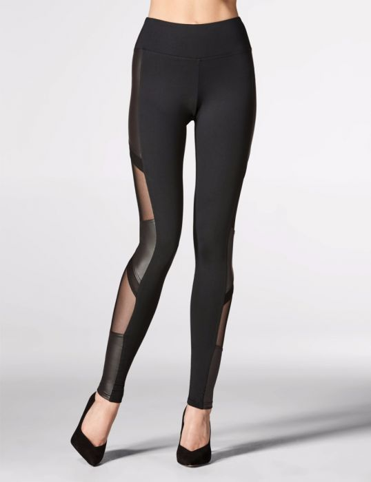 Mondor Amazing New Fashion Leggings - Faux Leather and Mesh.
