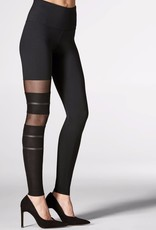 Mondor Tactel® leggings<br /> Mesh and faux leather inserts around the right leg<br /> Wide ultra comfort waistband